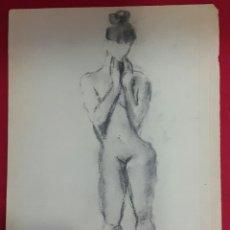 Arte: ANTIGUO DIBUJO DESNUDO FEMENINO A CARBONCILLO. FIRMADO CLARA. Lote 110020083