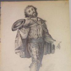 Arte: DIBUJO A LÁPIZ DE UN CABALLERO ESPAÑOL DEL SIGLO XIX.. Lote 110046115