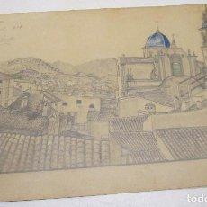 Arte: BONITO DIBUJO,VISTA CHIVA,VALENCIA,FIRMADO MIGUEL DE FUENTES ,23 MARZO 1878 / TORRE DE SERRANOS 1905. Lote 110074663