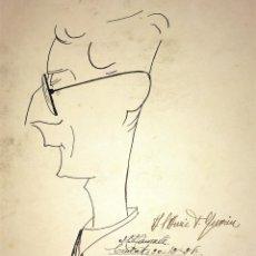 Arte: CARICATURA DE CABALLERO. TINTA SOBRE PAPEL. FIRMADO. ESPAÑA. 1928. Lote 110207559
