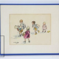 Arte: DIBUJO ORIGINAL DE LA ILUSTRADORA MARIONA LLUCH - NIÑOS JUGANDO A LA PÍDOLA - FIRMADO, AÑO 1946. Lote 110276527