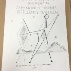 Arte: ORIGINAL BENJAMÍN PALENCIA. PRUBA CARTEL EXPOSICIÓN MUSEO SAN TELMO SAN SEBASTIAN 1950.. Lote 110343999