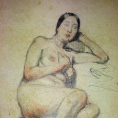 Arte: 4 DESNUDOS. CARBONCILLO, GRAFITO,PASTEL. SOBRE PAPEL. ESCUELA CATALANA. ESPAÑA. SIGLO XIX. Lote 110345059