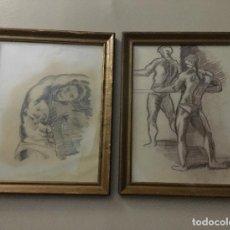 Arte: PAREJA DE DIBUJOS ACADÉMICOS ENMARCADOS. Lote 110422843