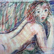 Arte: DESNUDO FEMENINO. DIBUJO. PASTEL SOBRE PAPEL. ESPAÑA. SIGLO XX. Lote 110461719