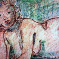 Arte: DESNUDO FEMENINO. DIBUJO. PASTEL SOBRE PAPEL. ESPAÑA. SIGLO XX. Lote 110466383