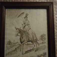 Arte: ANTIGUO DIBUJO ACUARELA. MUJER DE MENORCA CON TRAJE DE PASEO. FINALES XVIII. Lote 110472999
