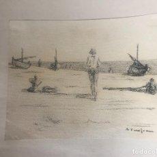 Arte: DIBUJO A CARBÓN FIRMADO 1950'S. . Lote 110515283