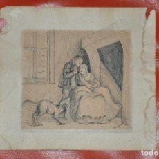 Arte: DIBUJO ORIGINAL A TINTA SOBRE PAPEL , FIRMADO . S. XIX. Lote 110623883