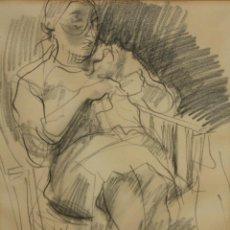 Arte: JULIÁN GRAU SANTOS (CANFRANC, HUESCA, 1937) DIBUJO A CARBÓN FECHADO DEL AÑO 1975. Lote 110626163