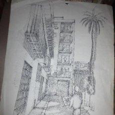Arte: FRANCISCO LEIVA ANTIGUO DIBUJO ORIGINAL AUTORRETRATO PINTANDO 60 X 40 CMS FIRMADO PINTOR ARQUITECTO. Lote 110742263