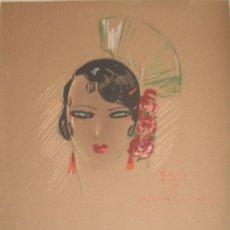 Arte: GITANA - AUTÓGRAFO EMILIO FERRER ESPEL - FIRMADO Y DEDICADO C. 1925 PASTEL Y TÉMPERA SOBRE PAPEL.. Lote 110820351