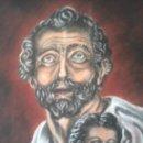 Arte: DIBUJO A CARBONCILLO Y CERAS DE HOMBRE CON NIÑO. FIRMA A IDENTIFICAR. Lote 110834911