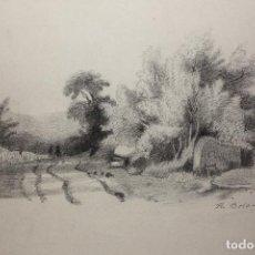 Arte: RICARDO BOLADO (OVIEDO, 1866- MADRID, 1928). PAISAJE ASTURIANO; DIBUJO A CARBONCILLO.. Lote 110935947