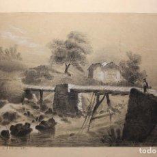 Arte: RICARDO BOLADO (OVIEDO, 1866- MADRID, 1928). PAISAJE ASTURIANO; DIBUJO A CARBONCILLO.. Lote 110936583