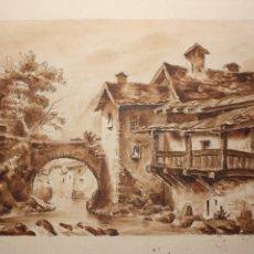Arte: RICARDO BOLADO (OVIEDO, 1866- MADRID, 1928). PAISAJE ASTURIANO; DIBUJO A CARBONCILLO ACUARELADO.. Lote 110908243