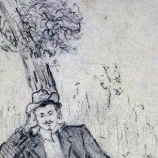 Arte: RETRATO DE UN TENOR. DIBUJO. CARBONCILLO. PIO CARLO REBEÑO. ESPAÑA. XIX-XX. Lote 111123771