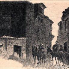 Arte: DIBUJO ORIGINAL SIGLO XIX,DON QUIJOTE DE LA MANCHA Y SANCHO PANZA, DE MIGUEL DE CERVANTES,FIRMADO. Lote 111360599