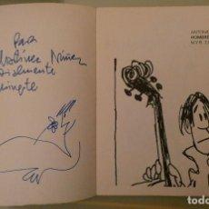 Arte: MINGOTE. DIBUJO CON DEDICATORIA EN LIBRO HOMBRE ATONITO. Lote 111547947
