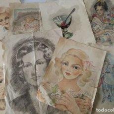 Arte: GRAN LOTE DE 45 DIBUJOS ANTIGUOS - FIRMADOS Y ANONIMOS - AÑOS 40. Lote 111622311