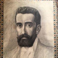 Arte: RETRATO DE BLAS BENLLIURE POR SU HERMANO JUAN ANTONIO. MAGNÍFICO DIBUJO. VALENCIA. 47,5 CM. Lote 111679616