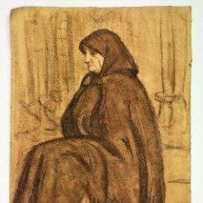 Arte: RETRATO DE ANCIANA SENTADA. SANGUINA SOBRE PAPEL. ESCUELA CATALANA, ESPAÑA. FINAL SIGLO XIX. Lote 128181522