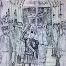 Arte: ALFONSO XIII(?) SALIENDO DE UNA IGLESIA. CARBONCILLO SOBRE PAPEL. PRINCIPIO SIGLO XX. Lote 111697331