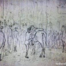 Arte: ALFONSO XIII(?) SALIENDO DE UNA IGLESIA. CARBONCILLO SOBRE PAPEL. PRINCIPIO SIGLO XX. Lote 111892587