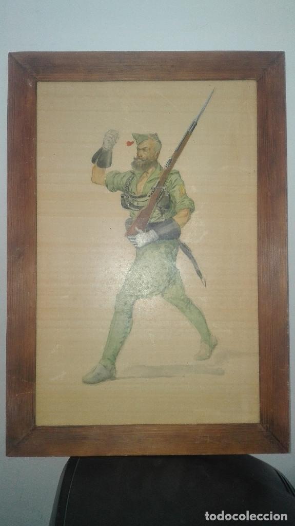 PRECIOSO DIBUJO DE UN LEGIONARIO MARCHANDO (Arte - Dibujos - Contemporáneos siglo XX)