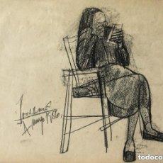 Arte: JORDI CURÓS (OLOT, 1930-2017), CARBONCILLO/PAPEL 46 X 35 CM. FIRMADO Y FECHADO 4 MAYO DE 1956. Lote 112055539