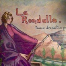 Arte: EL SOLAR ESPAÑOL BURDEOS LA RONDALLA POEMA DRAMÁTICO POPULAR 1950 68X55CM. Lote 112370199