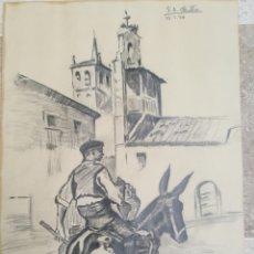 Arte: DIBUJO ORIGINAL FIRMADO Y FECHADO. Lote 112451076