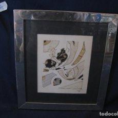 Arte: DIBUJO A DOS COLORES ENMARCADO EN METAL CON CRISTAL, P. GALLEGO, 1984. Lote 112506843
