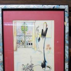 Arte: INTERESANTE ILUSTRACIÓN DE LA ARTISTA TERESA POZA. AÑO 1992, ENMARCADA 32X41CM. Lote 112646055