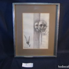 Arte: DIBUJO AL CARBONCILLO ENMARCADO CON CRISTAL, FIRMADO, PEDRO ALFONSO, 1979. Lote 112703107