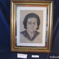 Arte: RETRATO MUJER AL CARBONCILLO, ENMARCADO CON CRISTAL, FIRMADO RUIZALBA, 1984. Lote 112728099