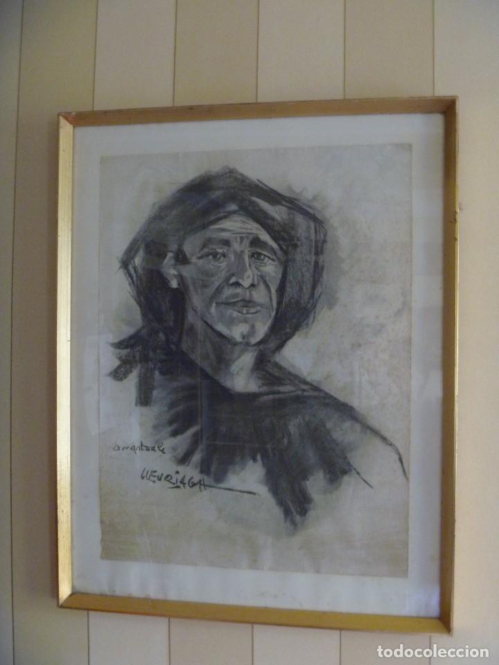 ARRANTZALE EXTRAORDINARIO RETRATO LUZURIAGA JUAN RAMÓN PINTURA PESCADOR VASCO (Arte - Dibujos - Contemporáneos siglo XX)