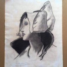 Arte: DIBUJO CON RETRATO FEMENINO DE VICENTE ALEMÁN PADRÓN. Lote 112806343