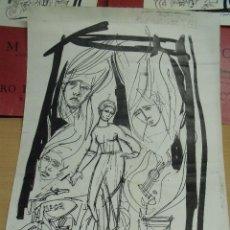 Arte: JULI GAROLA REUS 1927-2002 DIBUJO COLAGE A TINTA NEGRA ORIGINAL PARA CARTEL CENTRO LECTURA 48 X 34 . Lote 112918243