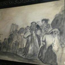 Arte: DIBUJO ANTIGUO A TINTA REPRESENTANDO UNA EXTRAÑA PROCESIÓN. Lote 112927214