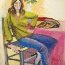 Arte: JORDI CUROS DIBUJO A PASTEL/TABLEX 55 X 46 CM. FIRMADO. AÑOS 70.. Lote 112953415