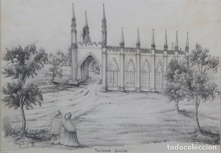DIBUJO ORIGINAL SIGLO XIX DE ROBERT DWARRIS GOBNEY . FIRMADO Y TITULADO . (Arte - Dibujos - Modernos siglo XIX)