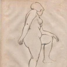Arte: DIBUJO ORIGINAL DE E. C. RICART DE 1920 MUJER DESNUDA. POSTURA DE MEDIO LADO.. Lote 113186279