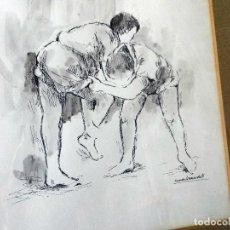 Arte: CUADRO A PLUMILLA DEL FAMOSO PINTOR CANARIO MANOLO SÁNCHEZ. 30X22CM. Lote 113229343