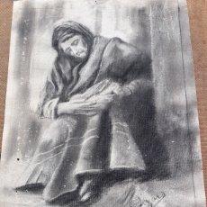 Arte: DIBUJO LÁPIZ ABUELA CON NIÑO FIRMADO. Lote 113388120