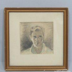 Arte: AUTORRETRATO DE JULIAN NADAL. FIRMADO Y FECHADO. MASNOU. 1935. Lote 113459439