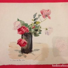 Arte: PINTURA ORIGINAL DE ALBERT BENOIS, ACUARELA. A JUAN LES PINS 1924. Lote 113579323