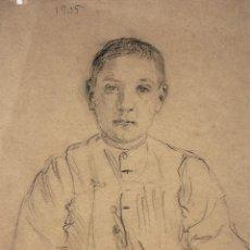 Arte: RETRATO DE NIÑO. CARBONCILLO SOBRE PAPEL. ESPAÑA. FIN SIGLO XIX. Lote 113835435