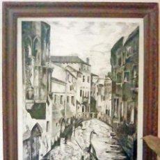 Arte: PRECIOSO CUADRO A TINTA CHINA- GONDOLERO DE VENECIA-OBRA ORIGINAL DE MIMOPRI 1963 70X50 CMS. Lote 113872127