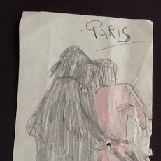 Arte: DIBUJO LAPIZ.COLOREADO. INDICA PARIS.. EL ENVIO ESTA INCLUIDO.. Lote 114025739